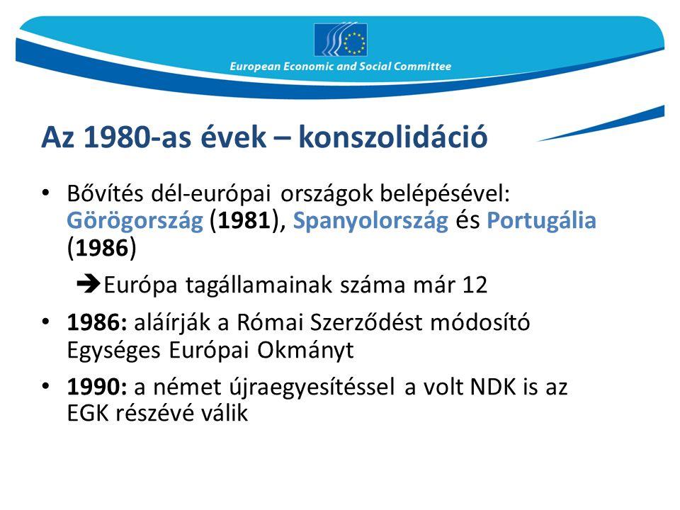 Az 1980-as évek – konszolidáció Bővítés dél-európai országok belépésével: Görögország ( 1981 ), Spanyolország és Portugália ( 1986 )  Európa tagállamainak száma már 12 1986: aláírják a Római Szerződést módosító Egységes Európai Okmányt 1990: a német újraegyesítéssel a volt NDK is az EGK részévé válik
