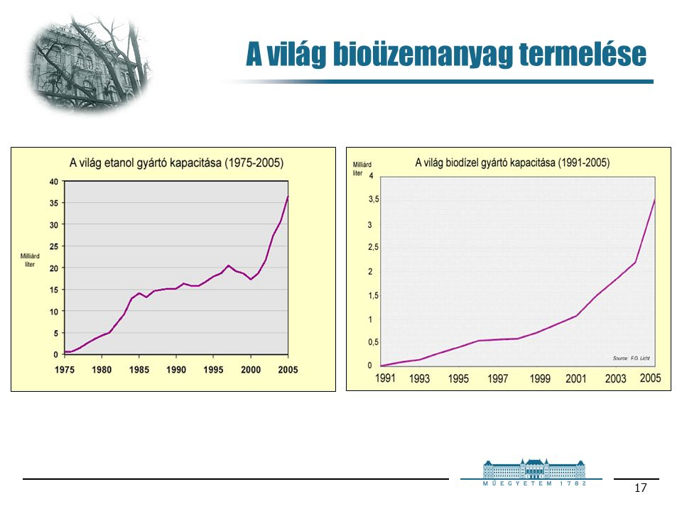 17 A világ bioüzemanyag termelése