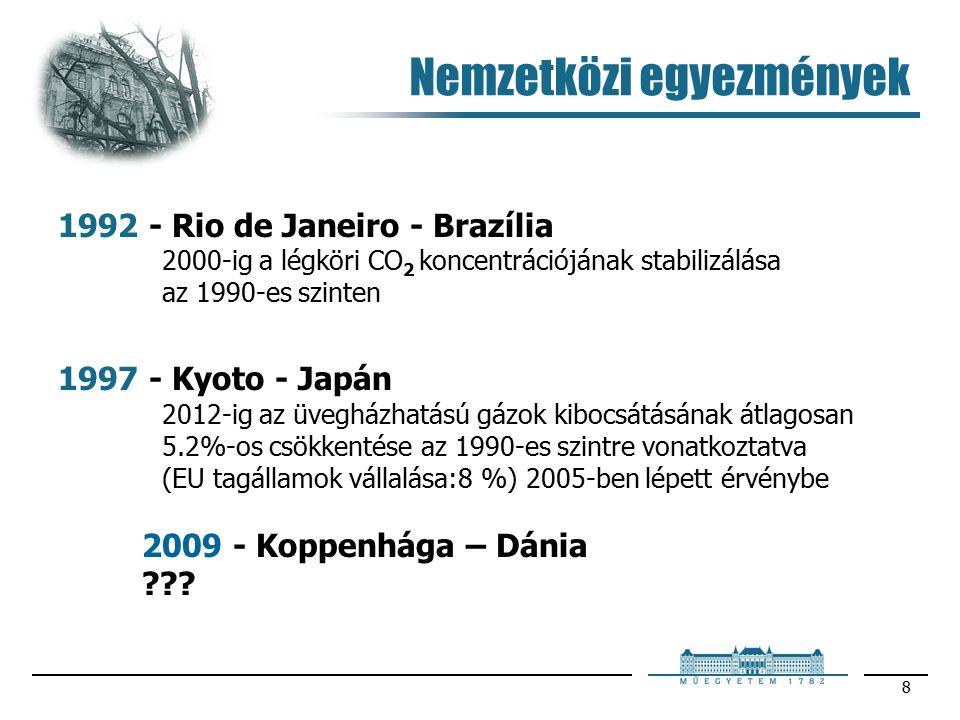 8 1992 - Rio de Janeiro - Brazília 2000-ig a légköri CO 2 koncentrációjának stabilizálása az 1990-es szinten 1997 - Kyoto - Japán 2012-ig az üvegházhatású gázok kibocsátásának átlagosan 5.2%-os csökkentése az 1990-es szintre vonatkoztatva (EU tagállamok vállalása:8 %) 2005-ben lépett érvénybe 2009 - Koppenhága – Dánia .