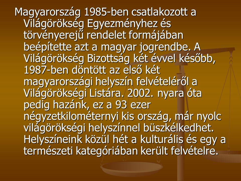 Magyarország 1985-ben csatlakozott a Világörökség Egyezményhez és törvényerejű rendelet formájában beépítette azt a magyar jogrendbe.