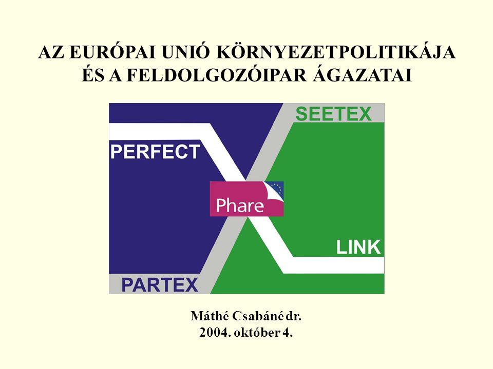 AZ EURÓPAI UNIÓ KÖRNYEZETPOLITIKÁJA ÉS A FELDOLGOZÓIPAR ÁGAZATAI Máthé Csabáné dr. 2004. október 4.