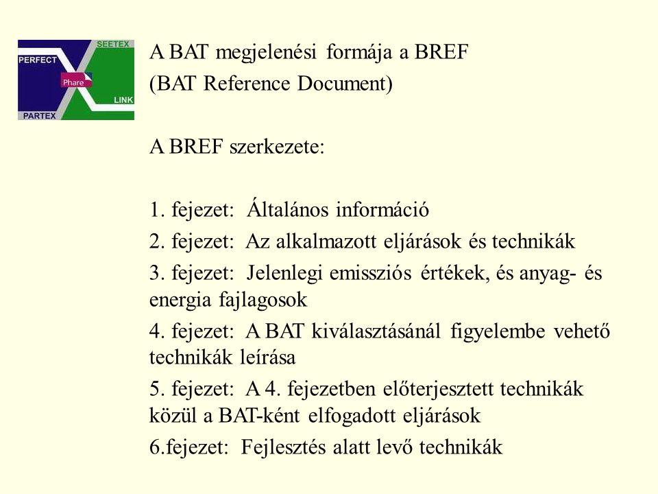 A BAT megjelenési formája a BREF (BAT Reference Document) A BREF szerkezete: 1.
