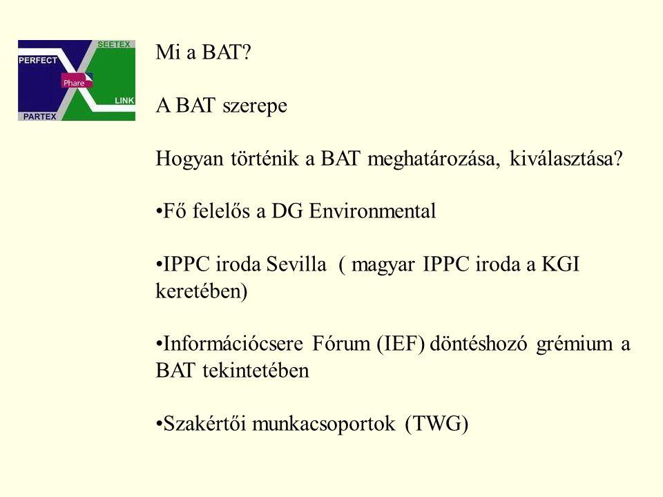 Mi a BAT. A BAT szerepe Hogyan történik a BAT meghatározása, kiválasztása.