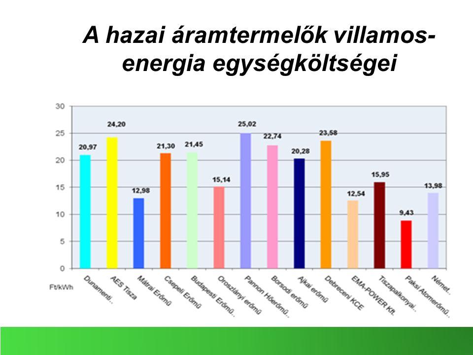 A hazai áramtermelők villamos- energia egységköltségei