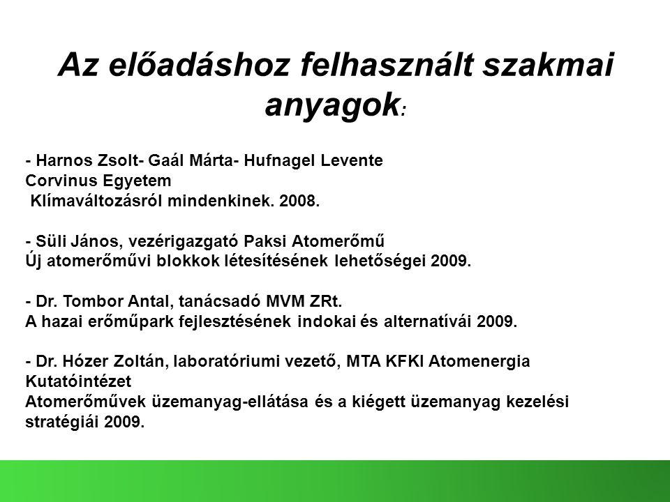 Az előadáshoz felhasznált szakmai anyagok : - Harnos Zsolt- Gaál Márta- Hufnagel Levente Corvinus Egyetem Klímaváltozásról mindenkinek. 2008. - Süli J