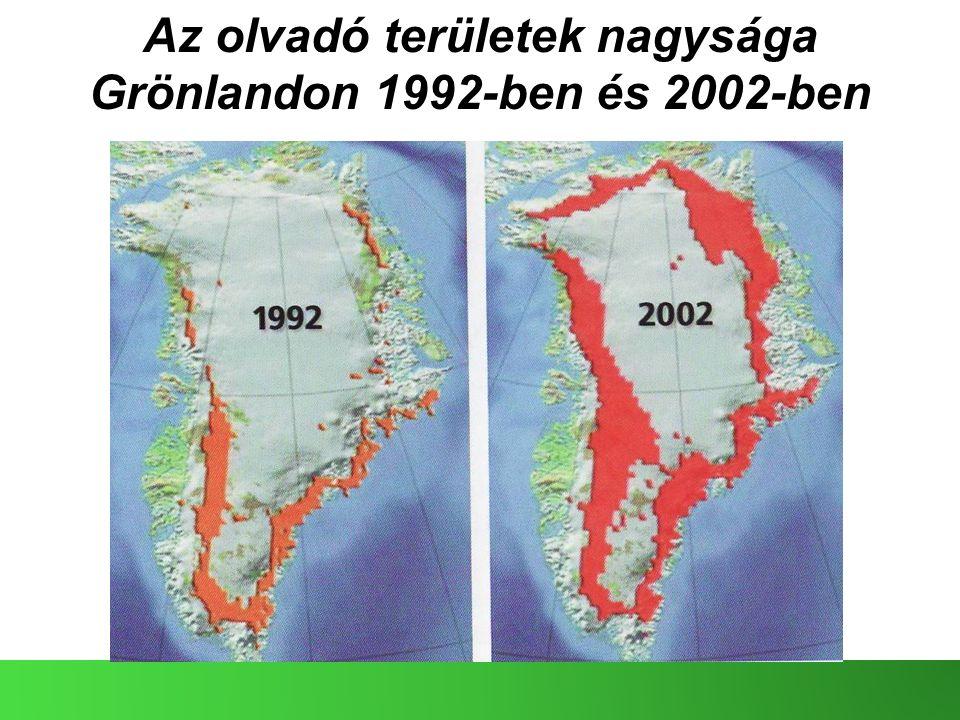 Az olvadó területek nagysága Grönlandon 1992-ben és 2002-ben