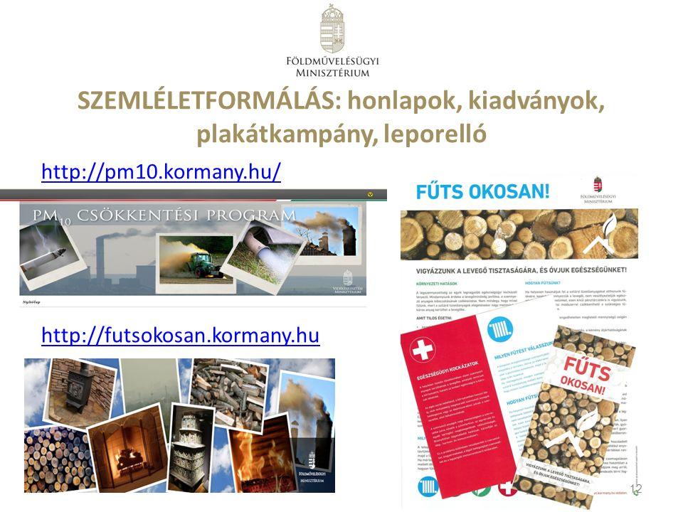 SZEMLÉLETFORMÁLÁS: honlapok, kiadványok, plakátkampány, leporelló http://pm10.kormany.hu/ http://futsokosan.kormany.hu 12