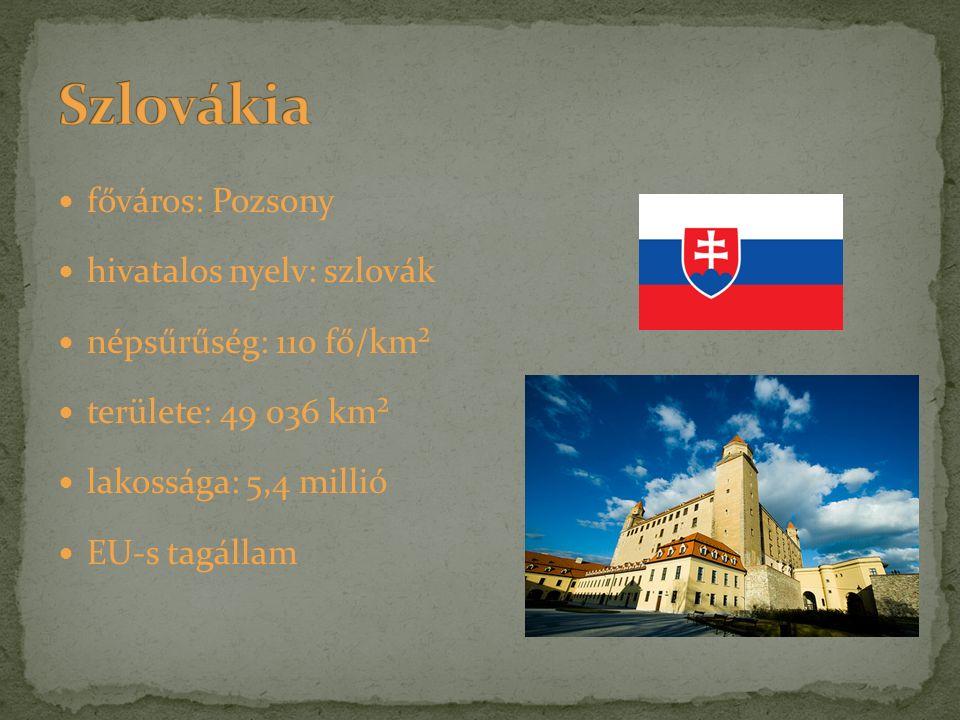 főváros: Pozsony hivatalos nyelv: szlovák népsűrűség: 110 fő/km² területe: 49 036 km² lakossága: 5,4 millió EU-s tagállam