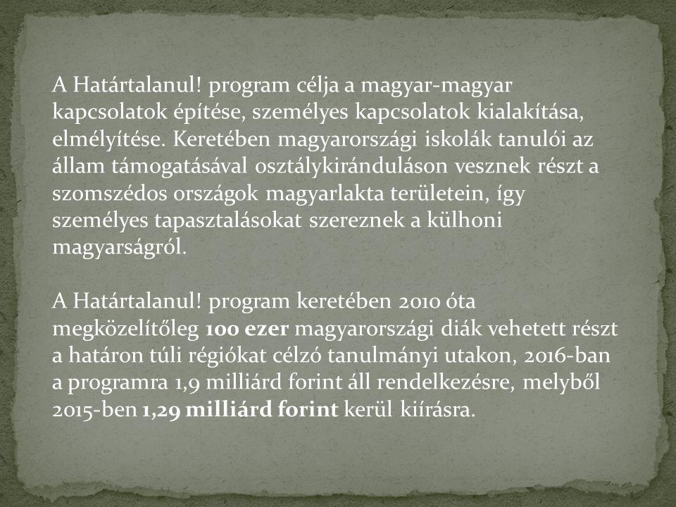 A Határtalanul! program célja a magyar-magyar kapcsolatok építése, személyes kapcsolatok kialakítása, elmélyítése. Keretében magyarországi iskolák tan