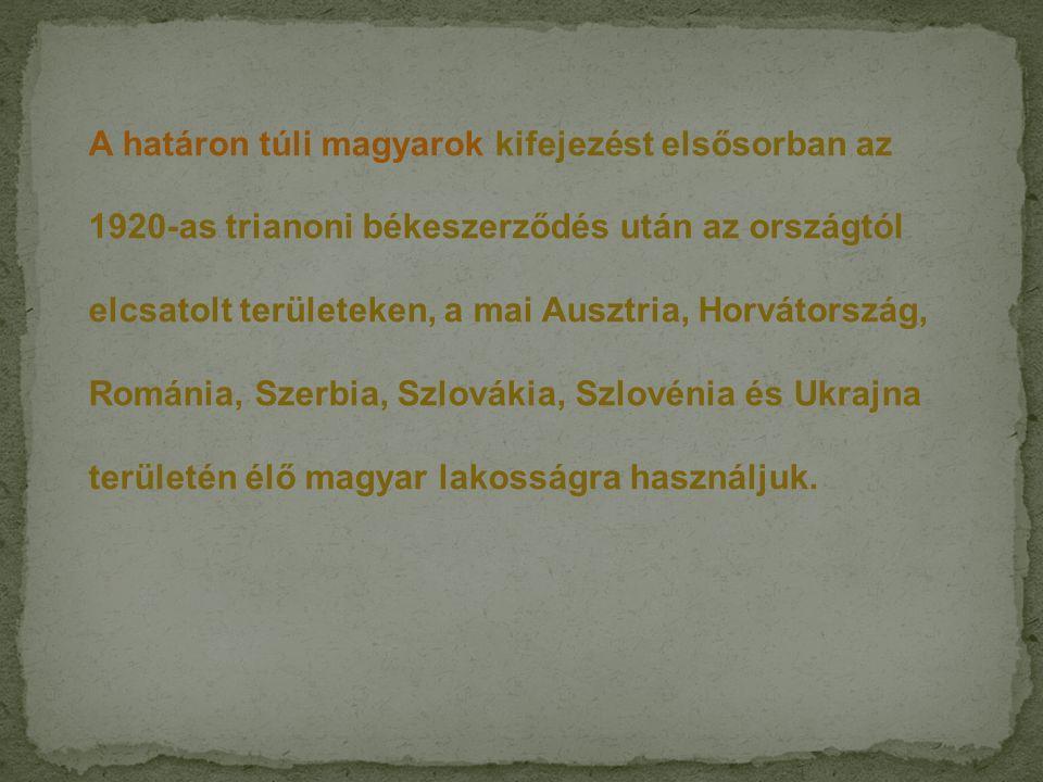 A határon túli magyarok kifejezést elsősorban az 1920-as trianoni békeszerződés után az országtól elcsatolt területeken, a mai Ausztria, Horvátország,