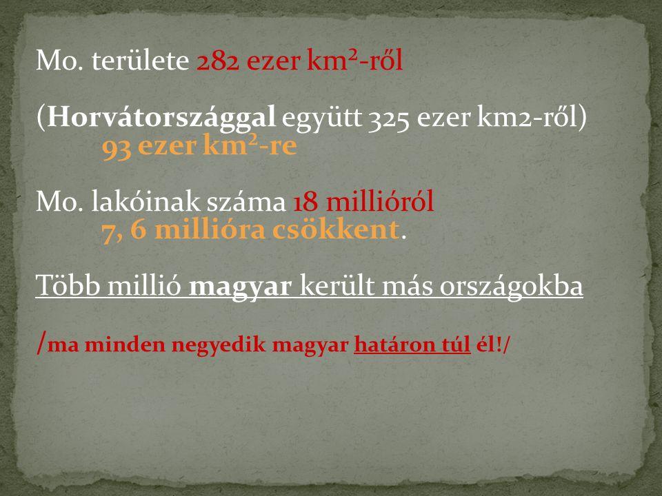 Mo. területe 282 ezer km²-ről (Horvátországgal együtt 325 ezer km2-ről) 93 ezer km²-re Mo. lakóinak száma 18 millióról 7, 6 millióra csökkent. Több mi