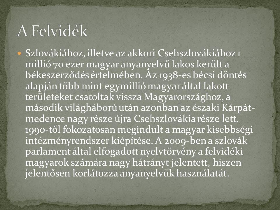 Szlovákiához, illetve az akkori Csehszlovákiához 1 millió 70 ezer magyar anyanyelvű lakos került a békeszerződés értelmében. Az 1938-es bécsi döntés a