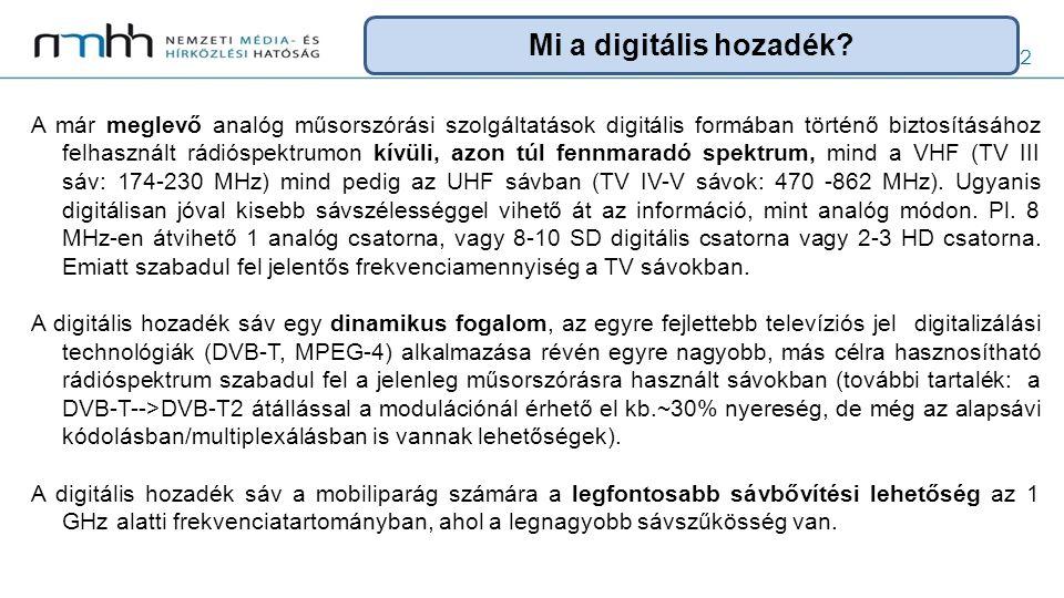 3 A szabályozás mérföldkövei 2006 200720122015 GE'06 7 UHF 1 VHF maszk elv WRC-07 790-862 MHz mobil célra is rádiónavigáció védelme EU határozat RSPP 1.DD WRC-12 694-790 MHz vizsgálata Új frekvencia lehetőség LTE-re WRC-15 694 (?)-790 MHz mobil célra is 2.DD ?