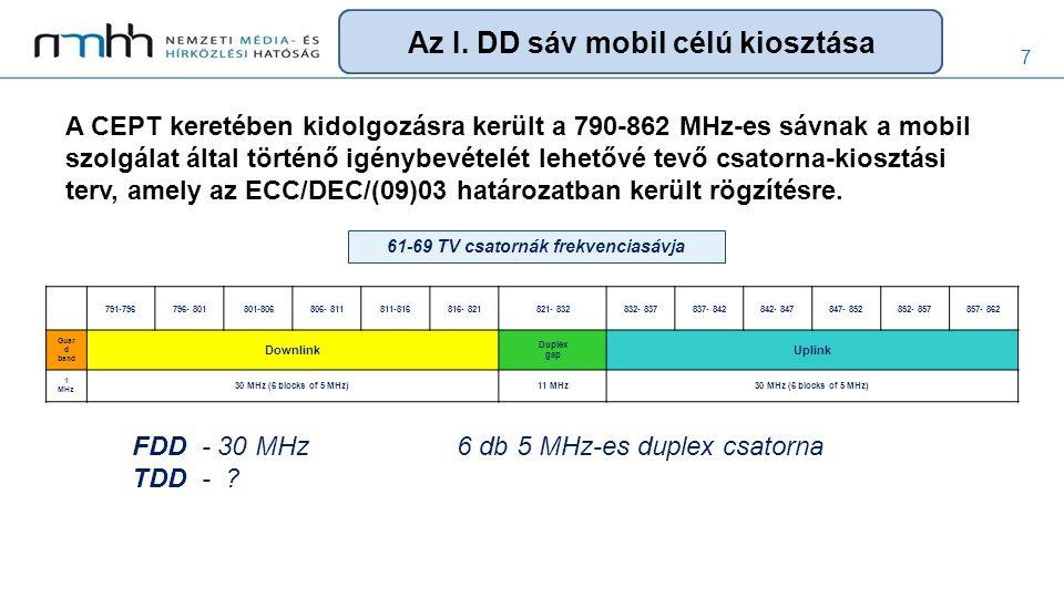 7 A CEPT keretében kidolgozásra került a 790-862 MHz-es sávnak a mobil szolgálat által történő igénybevételét lehetővé tevő csatorna-kiosztási terv, a