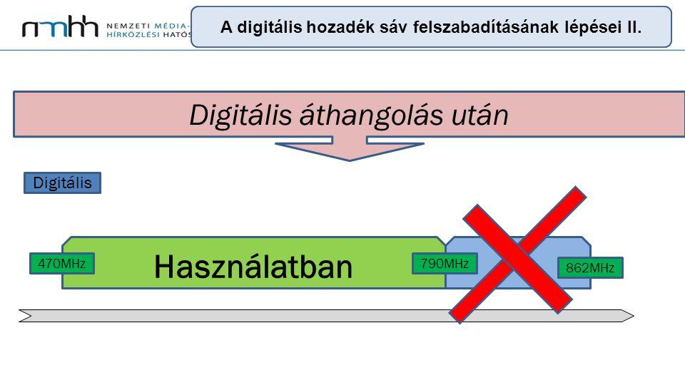 9 Digitális áthangolás után Digitális Használatban 470MHz790MHz 862MHz A digitális hozadék sáv felszabadításának lépései II.