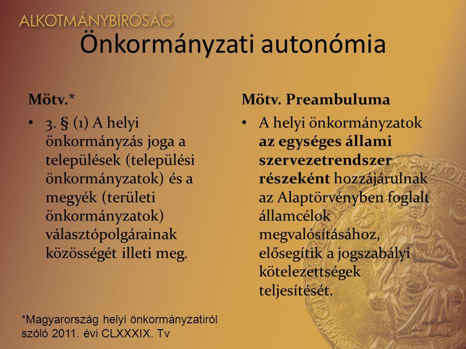Önkormányzati autonómia Mötv.* 3.