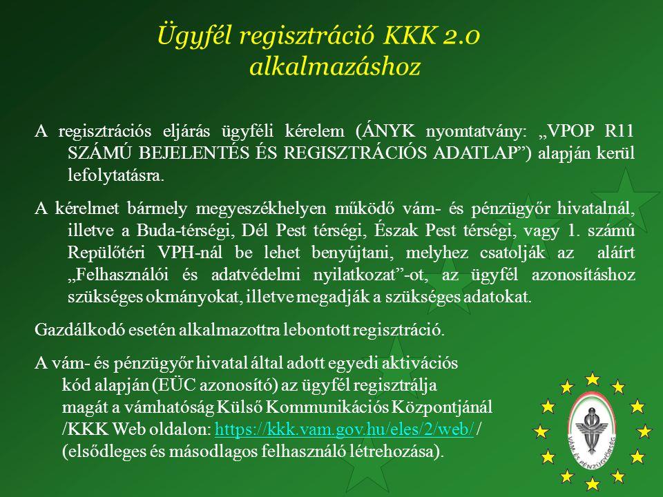 """A regisztrációs eljárás ügyféli kérelem (ÁNYK nyomtatvány: """"VPOP R11 SZÁMÚ BEJELENTÉS ÉS REGISZTRÁCIÓS ADATLAP"""") alapján kerül lefolytatásra. A kérelm"""