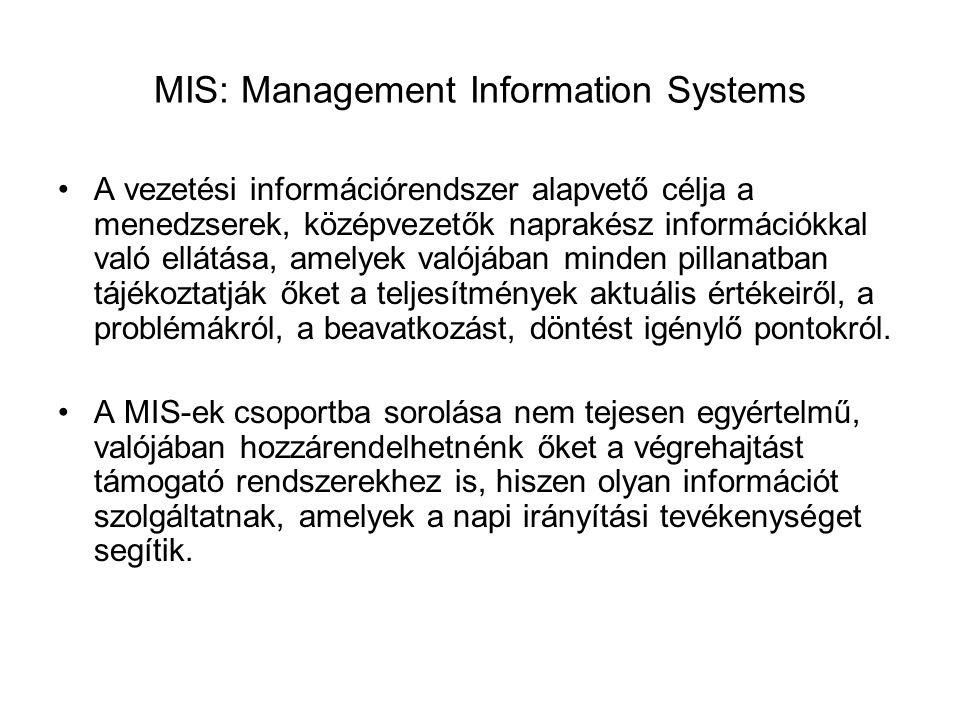 MIS: Management Information Systems A vezetési információrendszer alapvető célja a menedzserek, középvezetők naprakész információkkal való ellátása, amelyek valójában minden pillanatban tájékoztatják őket a teljesítmények aktuális értékeiről, a problémákról, a beavatkozást, döntést igénylő pontokról.
