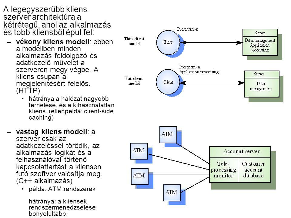 A legegyszerűbb kliens- szerver architektúra a kétrétegű, ahol az alkalmazás és több kliensből épül fel: –vékony kliens modell: ebben a modellben minden alkalmazás feldolgozó és adatkezelő művelet a szerveren megy végbe.