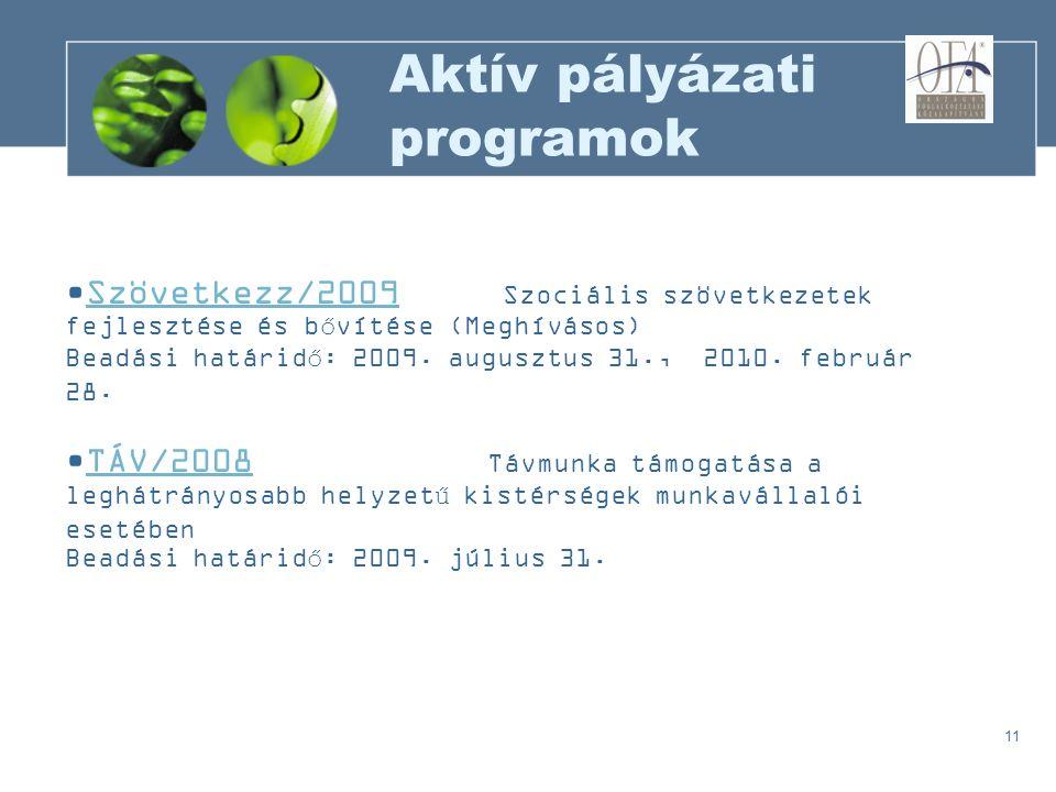 11 Aktív pályázati programok Szövetkezz/2009 Szociális szövetkezetek fejlesztése és bővítése (Meghívásos)Szövetkezz/2009 Beadási határidő: 2009.