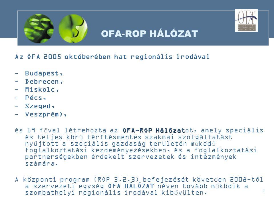5 OFA-ROP HÁLÓZAT Az OFA 2005 októberében hat regionális irodával -Budapest, -Debrecen, -Miskolc, -Pécs, -Szeged, -Veszprém), OFA-ROP Hálózat és 19 fővel létrehozta az OFA-ROP Hálózatot, amely speciális és teljes körű térítésmentes szakmai szolgáltatást nyújtott a szociális gazdaság területén működő foglalkoztatási kezdeményezésekben, és a foglalkoztatási partnerségekben érdekelt szervezetek és intézmények számára.