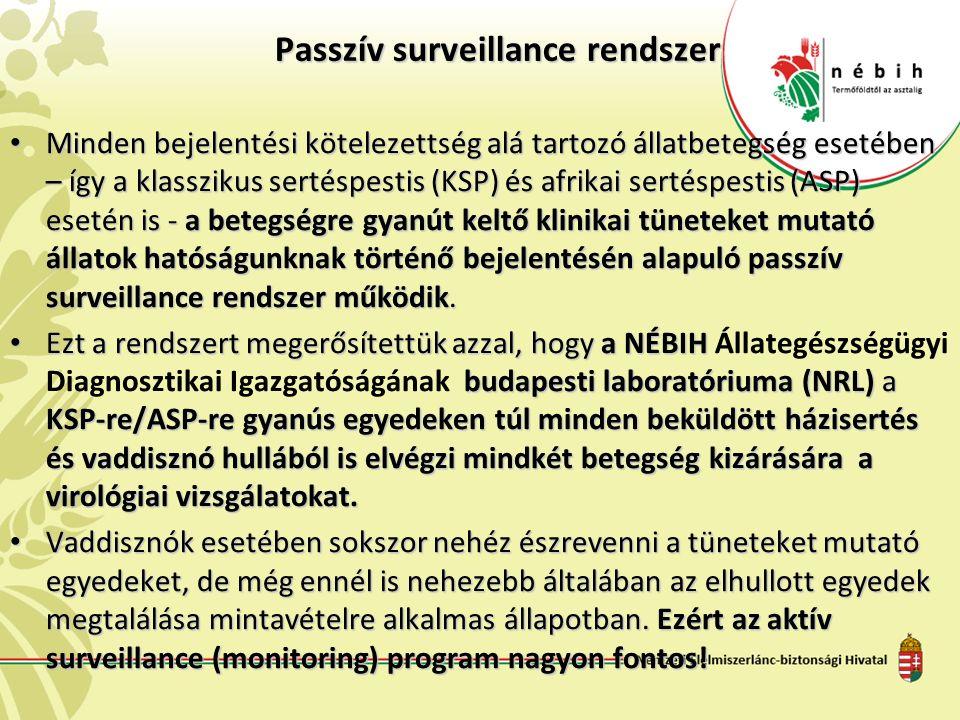 Passzív surveillance rendszer Passzív surveillance rendszer Minden bejelentési kötelezettség alá tartozó állatbetegség esetében – így a klasszikus sertéspestis (KSP) és afrikai sertéspestis (ASP) esetén is - a betegségre gyanút keltő klinikai tüneteket mutató állatok hatóságunknak történő bejelentésén alapuló passzív surveillance rendszer működik.
