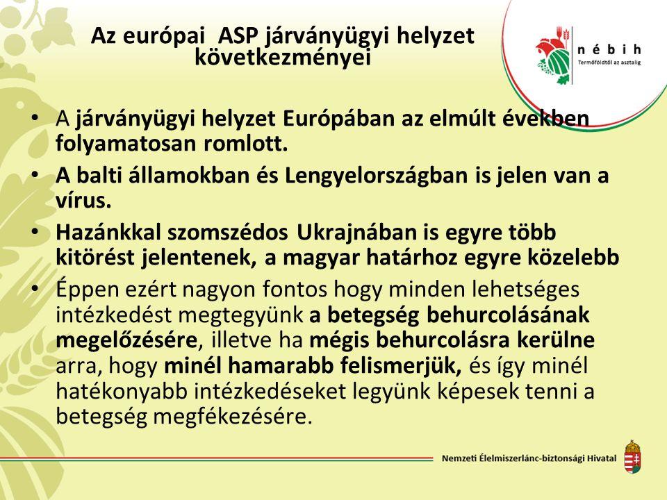 Az európai ASP járványügyi helyzet következményei A járványügyi helyzet Európában az elmúlt években folyamatosan romlott.