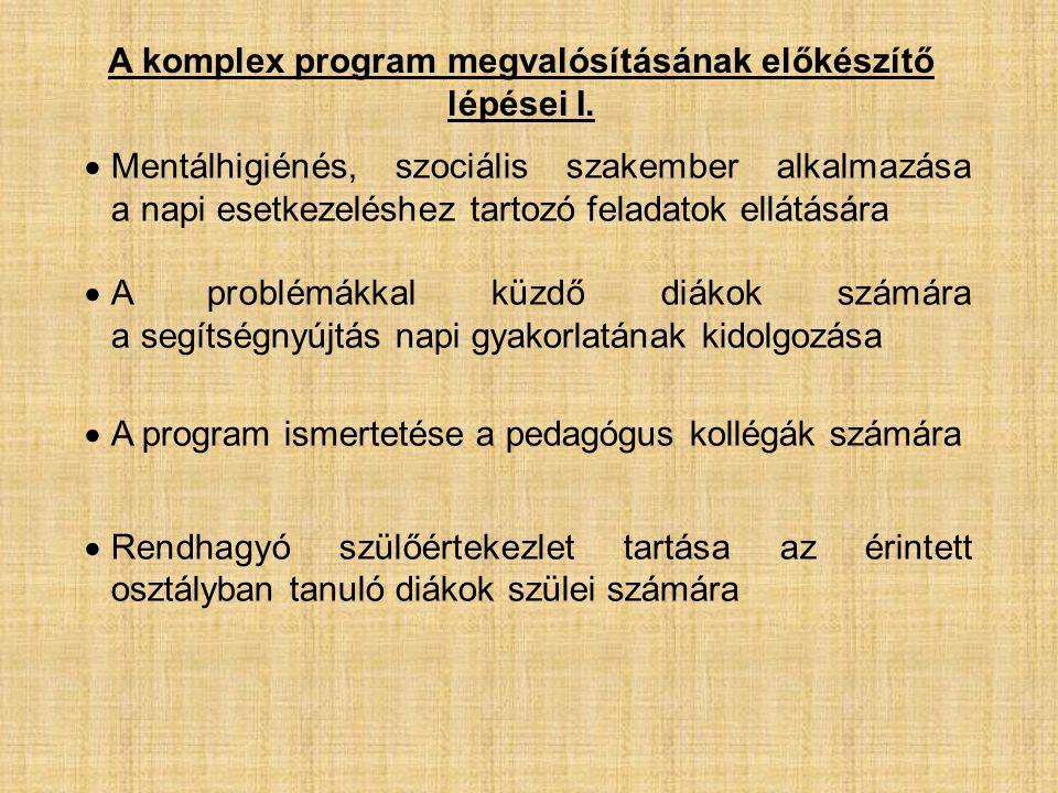 A komplex program megvalósításának előkészítő lépései I.