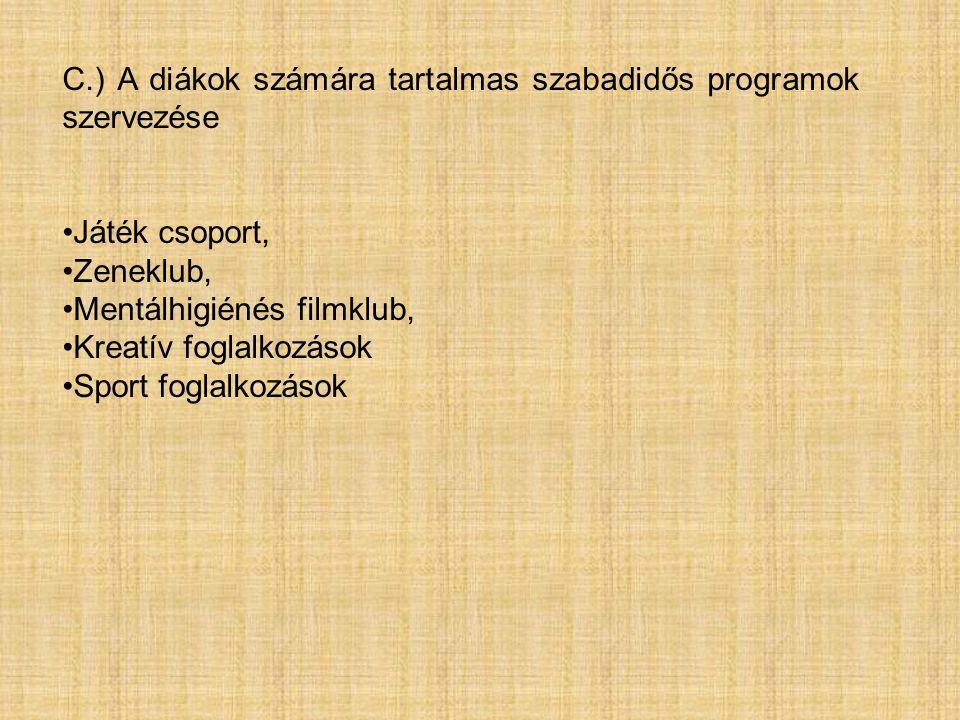 C.) A diákok számára tartalmas szabadidős programok szervezése Játék csoport, Zeneklub, Mentálhigiénés filmklub, Kreatív foglalkozások Sport foglalkozások