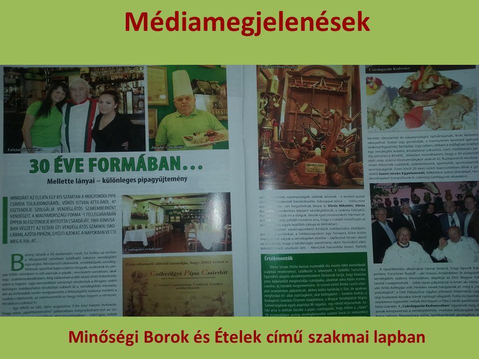 Médiamegjelenések Minőségi Borok és Ételek című szakmai lapban
