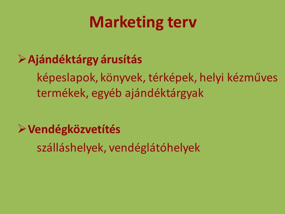Marketing terv  Ajándéktárgy árusítás képeslapok, könyvek, térképek, helyi kézműves termékek, egyéb ajándéktárgyak  Vendégközvetítés szálláshelyek, vendéglátóhelyek