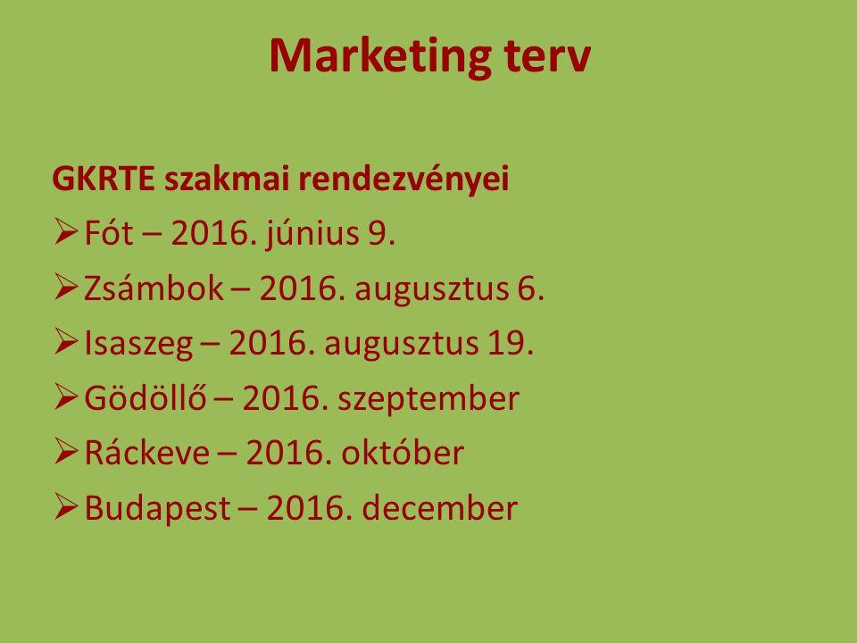 Marketing terv GKRTE szakmai rendezvényei  Fót – 2016. június 9.  Zsámbok – 2016. augusztus 6.  Isaszeg – 2016. augusztus 19.  Gödöllő – 2016. sze