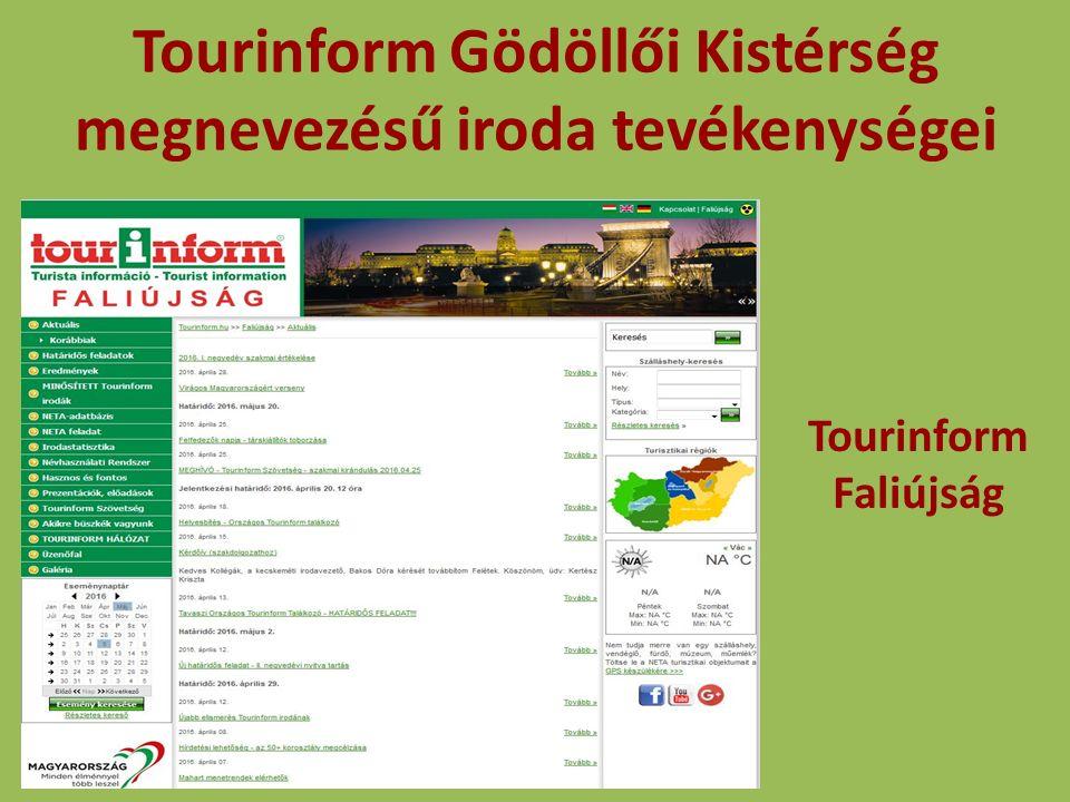 Tourinform Gödöllői Kistérség megnevezésű iroda tevékenységei NETA adatbázis töltése