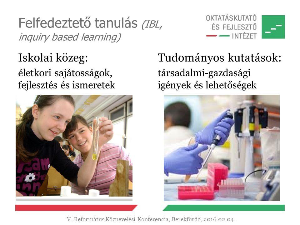 Felfedeztető tanulás (IBL, inquiry based learning) Iskolai közeg: életkori sajátosságok, fejlesztés és ismeretek Tudományos kutatások: társadalmi-gazdasági igények és lehetőségek V.