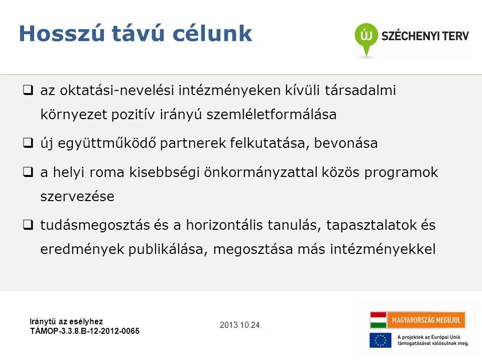 Iránytű az esélyhez TÁMOP-3.3.8.B-12-2012-0065  az oktatási-nevelési intézményeken kívüli társadalmi környezet pozitív irányú szemléletformálása  új együttműködő partnerek felkutatása, bevonása  a helyi roma kisebbségi önkormányzattal közös programok szervezése  tudásmegosztás és a horizontális tanulás, tapasztalatok és eredmények publikálása, megosztása más intézményekkel Hosszú távú célunk 2013.10.24.