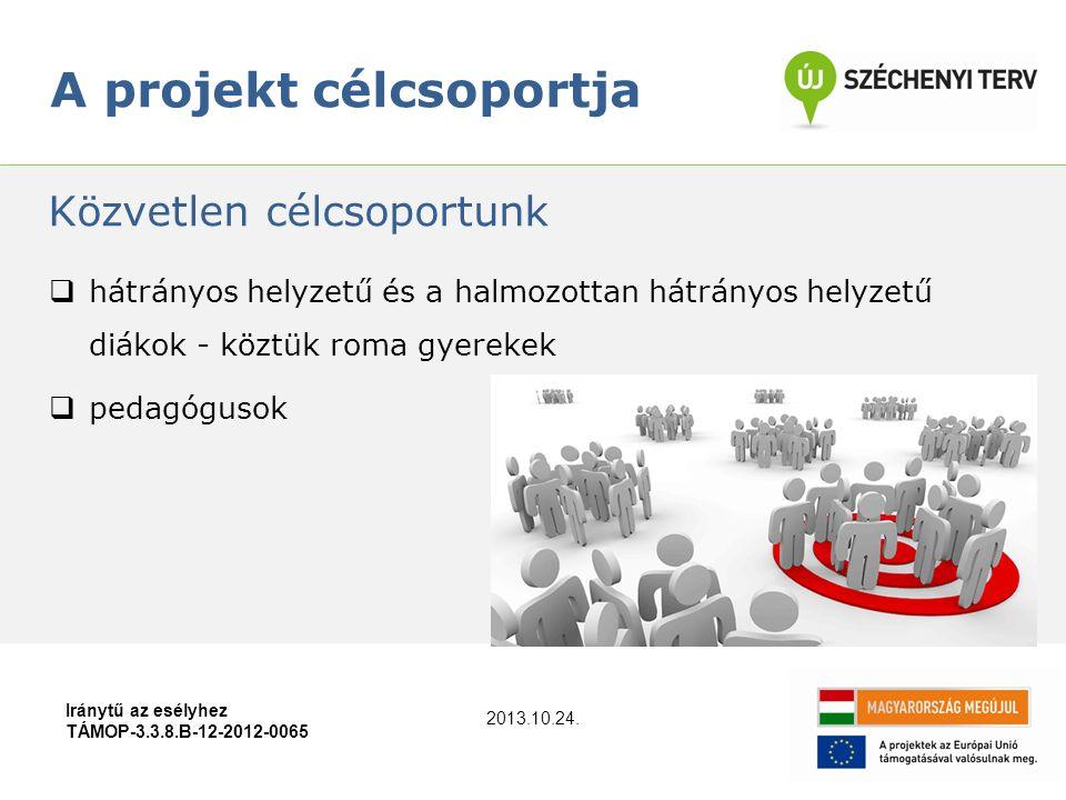 A projekt célcsoportja Iránytű az esélyhez TÁMOP-3.3.8.B-12-2012-0065  hátrányos helyzetű és a halmozottan hátrányos helyzetű diákok - köztük roma gyerekek  pedagógusok Közvetlen célcsoportunk 2013.10.24.