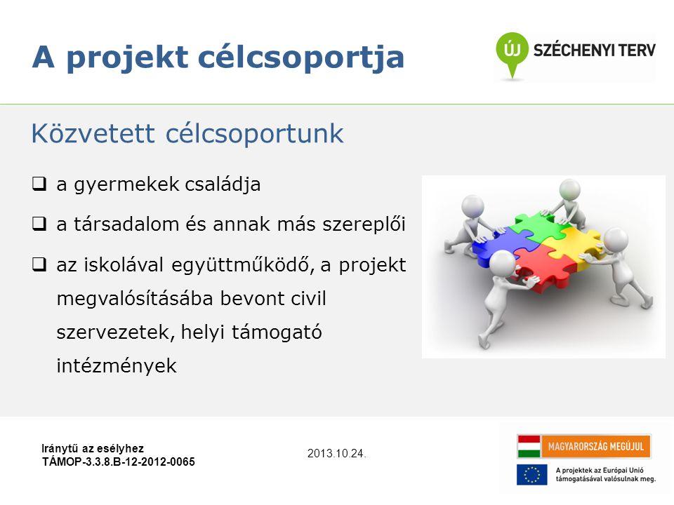 A projekt célcsoportja Iránytű az esélyhez TÁMOP-3.3.8.B-12-2012-0065  a gyermekek családja  a társadalom és annak más szereplői  az iskolával együ