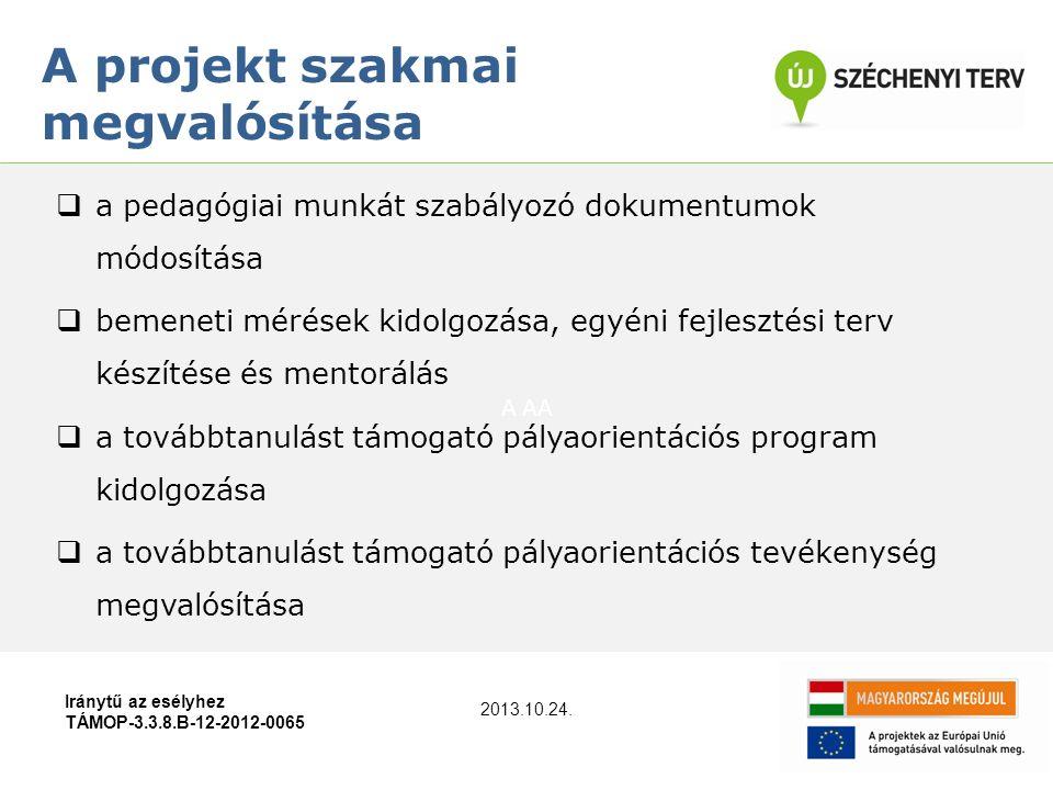 A AA A projekt szakmai megvalósítása Iránytű az esélyhez TÁMOP-3.3.8.B-12-2012-0065  a pedagógiai munkát szabályozó dokumentumok módosítása  bemeneti mérések kidolgozása, egyéni fejlesztési terv készítése és mentorálás  a továbbtanulást támogató pályaorientációs program kidolgozása  a továbbtanulást támogató pályaorientációs tevékenység megvalósítása 2013.10.24.