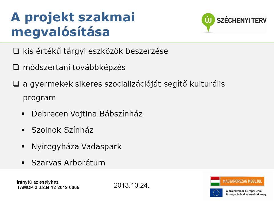 Iránytű az esélyhez TÁMOP-3.3.8.B-12-2012-0065  kis értékű tárgyi eszközök beszerzése  módszertani továbbképzés  a gyermekek sikeres szocializációját segítő kulturális program  Debrecen Vojtina Bábszínház  Szolnok Színház  Nyíregyháza Vadaspark  Szarvas Arborétum A projekt szakmai megvalósítása 2013.10.24.