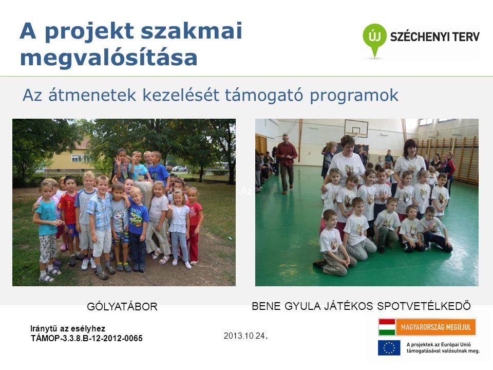 Az Iránytű az esélyhez TÁMOP-3.3.8.B-12-2012-0065 A projekt szakmai megvalósítása Az átmenetek kezelését támogató programok 2013.10.24. BENE GYULA JÁT