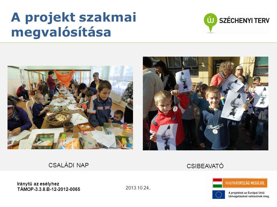 Az Iránytű az esélyhez TÁMOP-3.3.8.B-12-2012-0065 A projekt szakmai megvalósítása 2013.10.24. CSIBEAVATÓ CSALÁDI NAP
