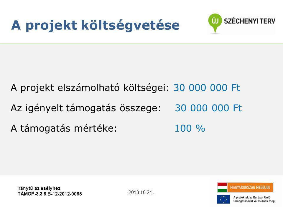 A projekt elszámolható költségei: 30 000 000 Ft Az igényelt támogatás összege: 30 000 000 Ft A támogatás mértéke: 100 % A projekt költségvetése Iránytű az esélyhez TÁMOP-3.3.8.B-12-2012-0065 2013.10.24.