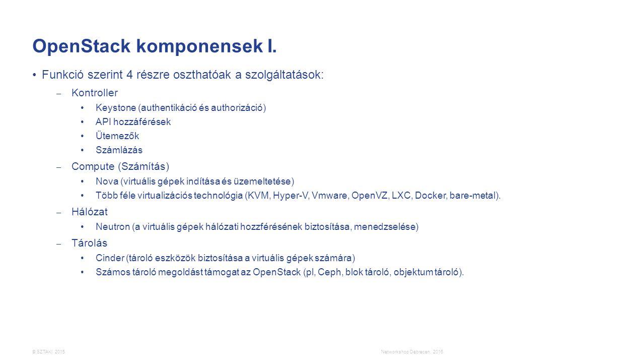 © SZTAKI 2015. OpenStack komponensek I. Funkció szerint 4 részre oszthatóak a szolgáltatások: – Kontroller Keystone (authentikáció és authorizáció) AP