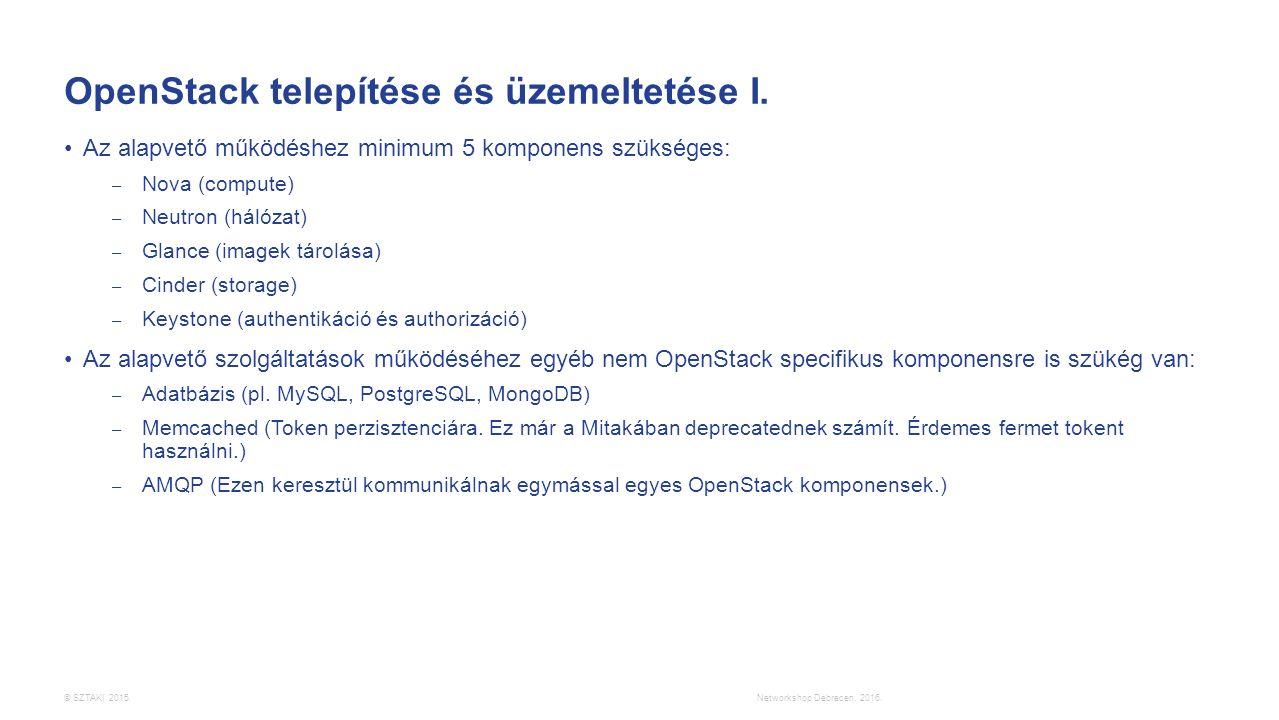 © SZTAKI 2015. OpenStack telepítése és üzemeltetése I. Az alapvető működéshez minimum 5 komponens szükséges: – Nova (compute) – Neutron (hálózat) – Gl