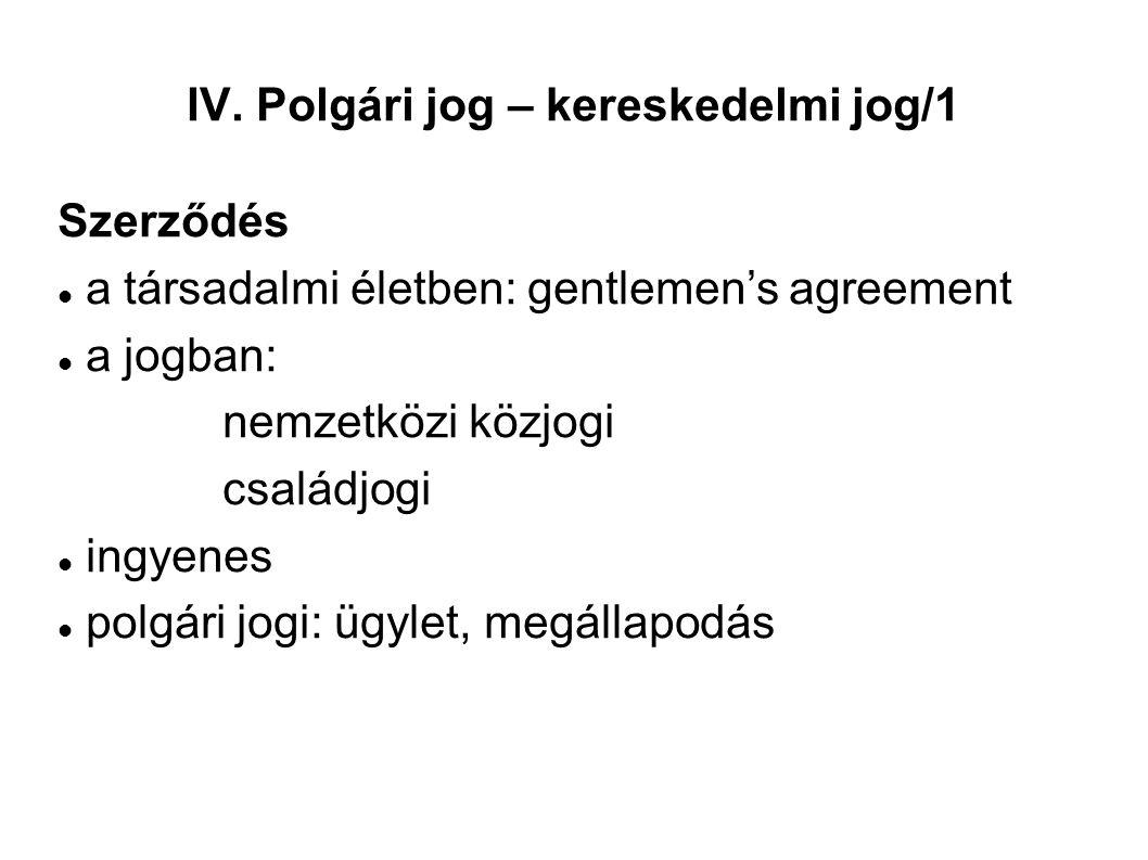 IV. Polgári jog – kereskedelmi jog/1 Szerződés a társadalmi életben: gentlemen's agreement a jogban: nemzetközi közjogi családjogi ingyenes polgári jo