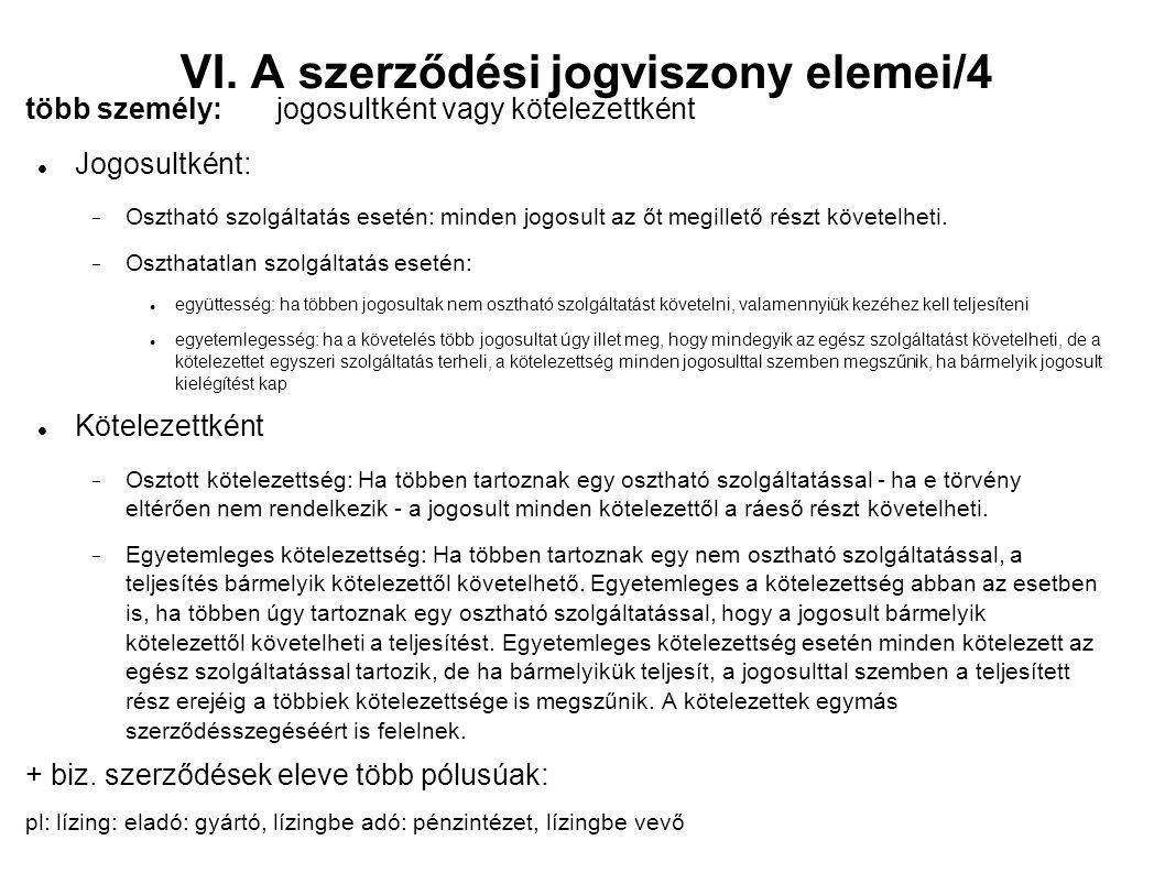 VI. A szerződési jogviszony elemei/4 több személy: jogosultként vagy kötelezettként Jogosultként:  Osztható szolgáltatás esetén: minden jogosult az ő