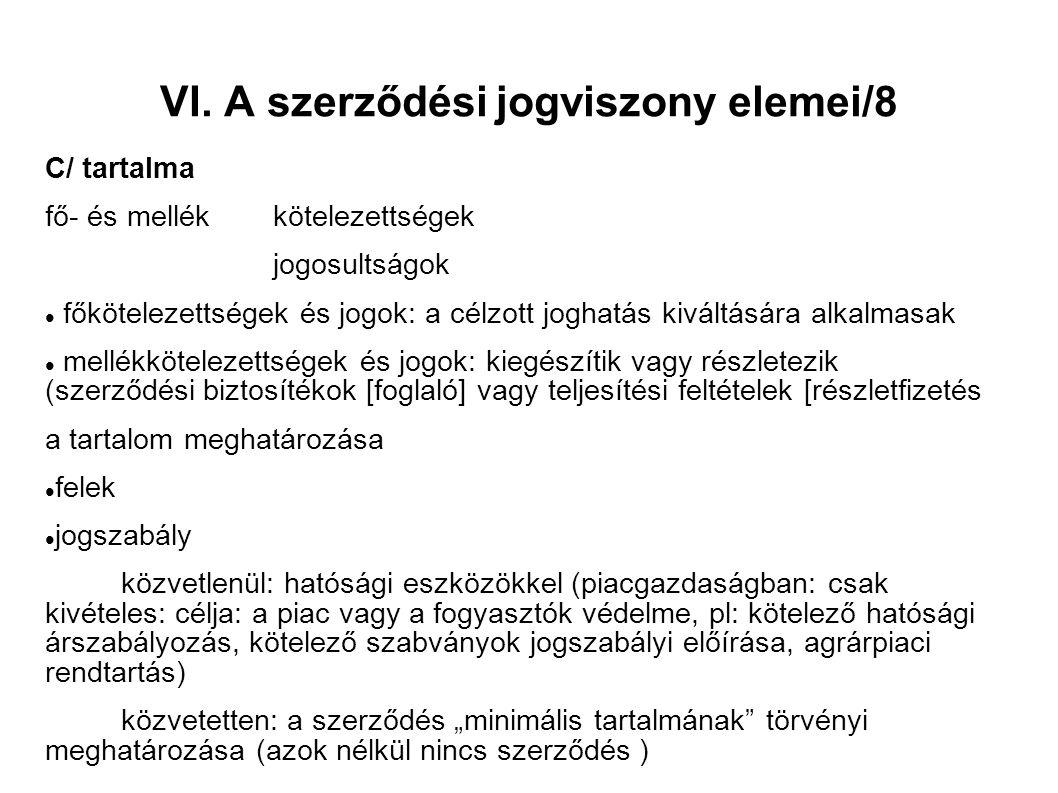 VI. A szerződési jogviszony elemei/8 C/ tartalma fő- és mellékkötelezettségek jogosultságok főkötelezettségek és jogok: a célzott joghatás kiváltására