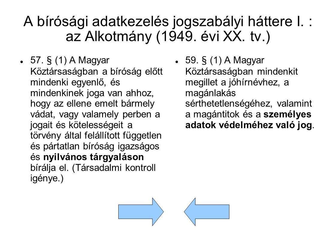 A bírósági adatkezelés jogszabályi háttere I. : az Alkotmány (1949.