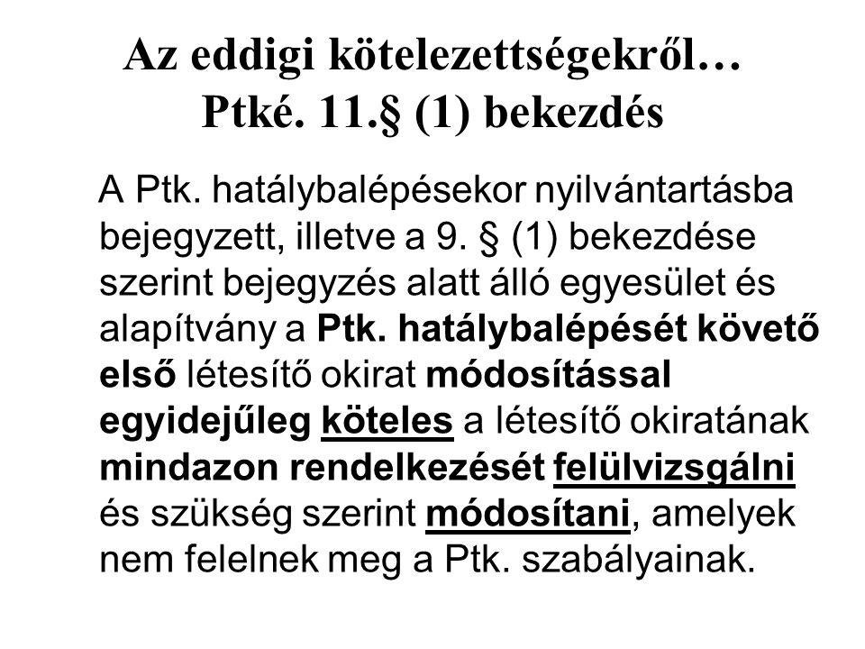 Az eddigi kötelezettségekről… Ptké. 11.§ (1) bekezdés A Ptk.