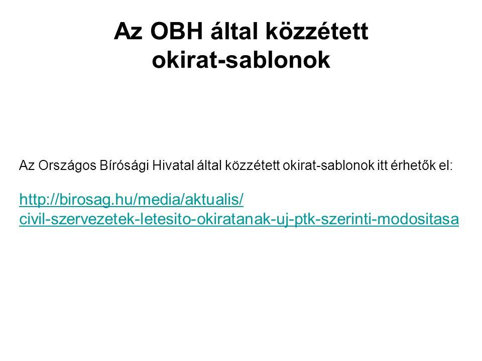 Az OBH által közzétett okirat-sablonok Az Országos Bírósági Hivatal által közzétett okirat-sablonok itt érhetők el: http://birosag.hu/media/aktualis/ civil-szervezetek-letesito-okiratanak-uj-ptk-szerinti-modositasa